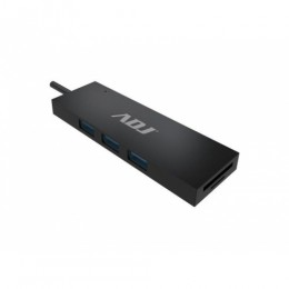 Hub dock type c multiport bk 3*usb3.1+card reader sd/mic.sd adj