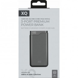 Power bank xqisit 12000mah dual usb fast charging black