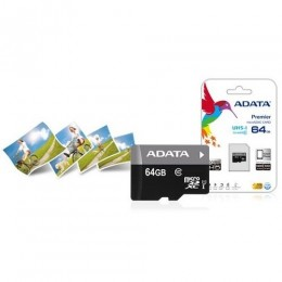Sdxc adata micro premier 64gb (2in1) uhs-i cl10 ausdx64guicl10-ra1