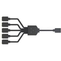 Cm cavo splitter da 1 a 5 addressable rgb, lunghezza 580 mm, per collegamento 3pin con 5 ventole argb