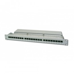 Patch panel 24 porte schermato stp cat.5e 8 poli rack 19 grigio