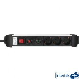 Inline multipresa 3-prese, 3x schu.ko, con interruttore, con sicura, con protezioni, alluminio, cavo 1,5m, spina cee7/7