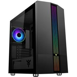 Case liflig b41 - gaming mini tower, matx, 12cm argb fan, 2xusb3, side panel temp glass