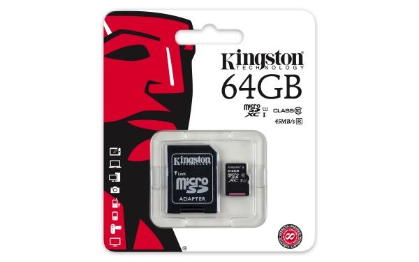 Flash card micro-sd 64gb kingston c10