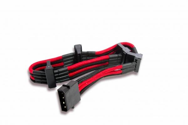 Cavo\prolunga sleevato ide 4pin a 4xsata, 300mm, nero rosso