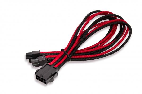 Cavo\prolunga sleevato eps 8pin femmina a 4+4pin maschio, 300mm, nero rosso