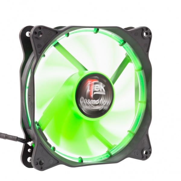 Ventola per case cosmo flow -12cm, led verde circolare, 3+4pin,silenziosa