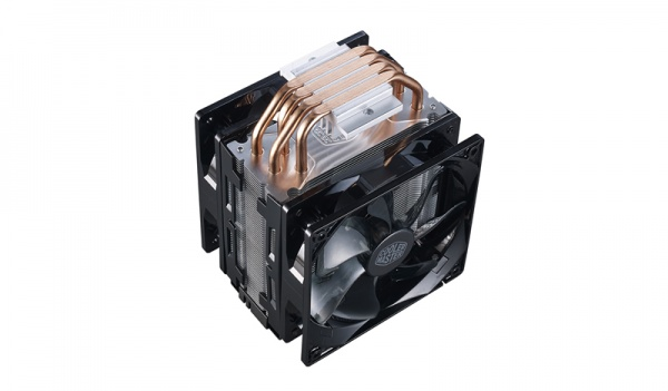 Ventola hyper 212 led turbo black cover, tower, 2x 120mm 600-1600rpm pwm fan with red led, 4x 6mm dc heatpipes, full socket