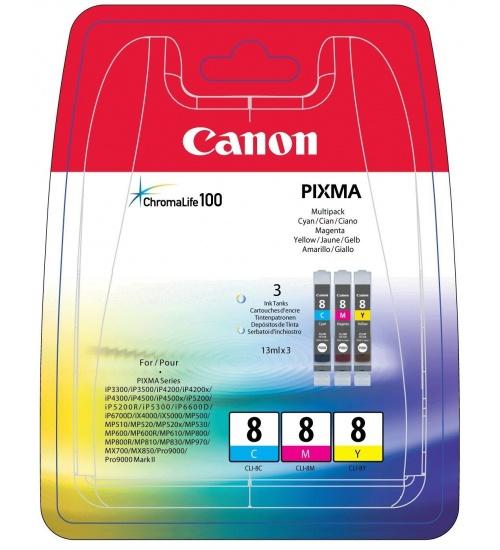 Canon cli-8 3 color y, c, m - ip3500, ip4500, ip5300, mp510, mp520, mp610, mp960, mp970, mx700, mx850, pro9000