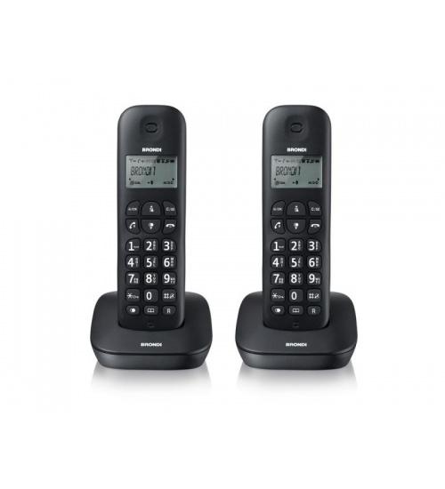 Telefono cordless brondi gala twin 2 telefoni sveglia/rubrica/id chiam