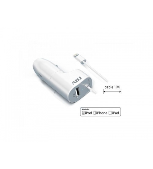 Carica batteria auto 1p usb mfi wh 2.4a lightning made for apple adj