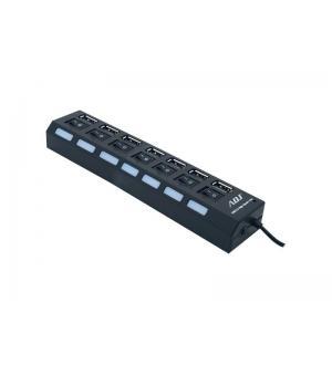 Hub usb 2.0 7p c/alimentatore bk c/interruttori singoli luce led adj