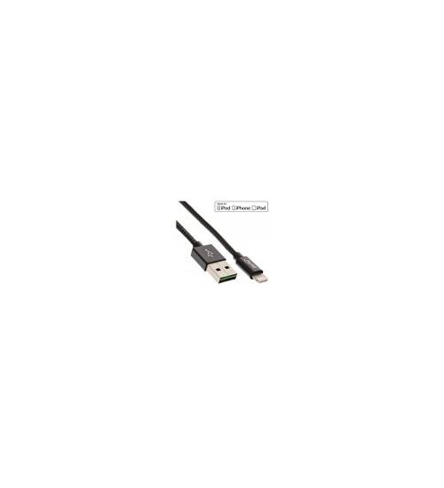 Inline cavo lightning usb, sincronizzazione dati e caricabatteria ipad, iphone, ipod, licenziato mfi, nero/argento