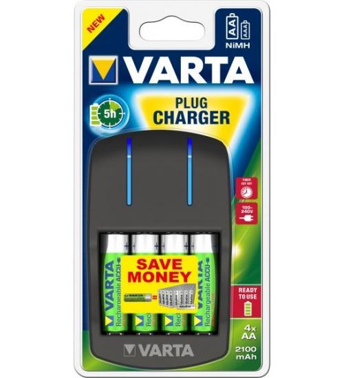 Carica batterie + 4pile stilo aa 2100 mah varta