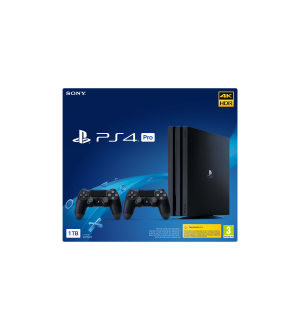 Sony playstation pro 1tb gamma blac k ps4 + 2 dualshock