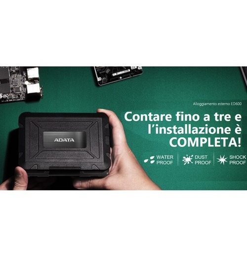 Adata aed600-u31-cbk case esterno 2.5`` nero per hdd/ssd (shock/waterproof/