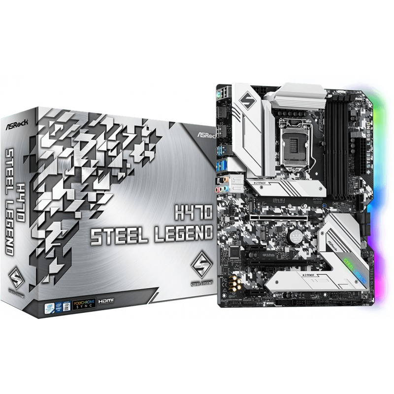 Scheda Madre asrock 1200 intel h470 steel legend 2xddr4 hdmi dp atx