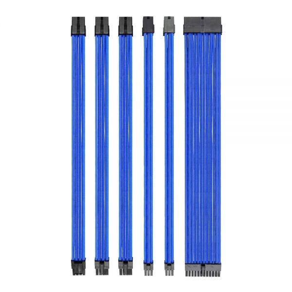 Kit cavi sleeved blu in nylon per alimentatori pc con piedini