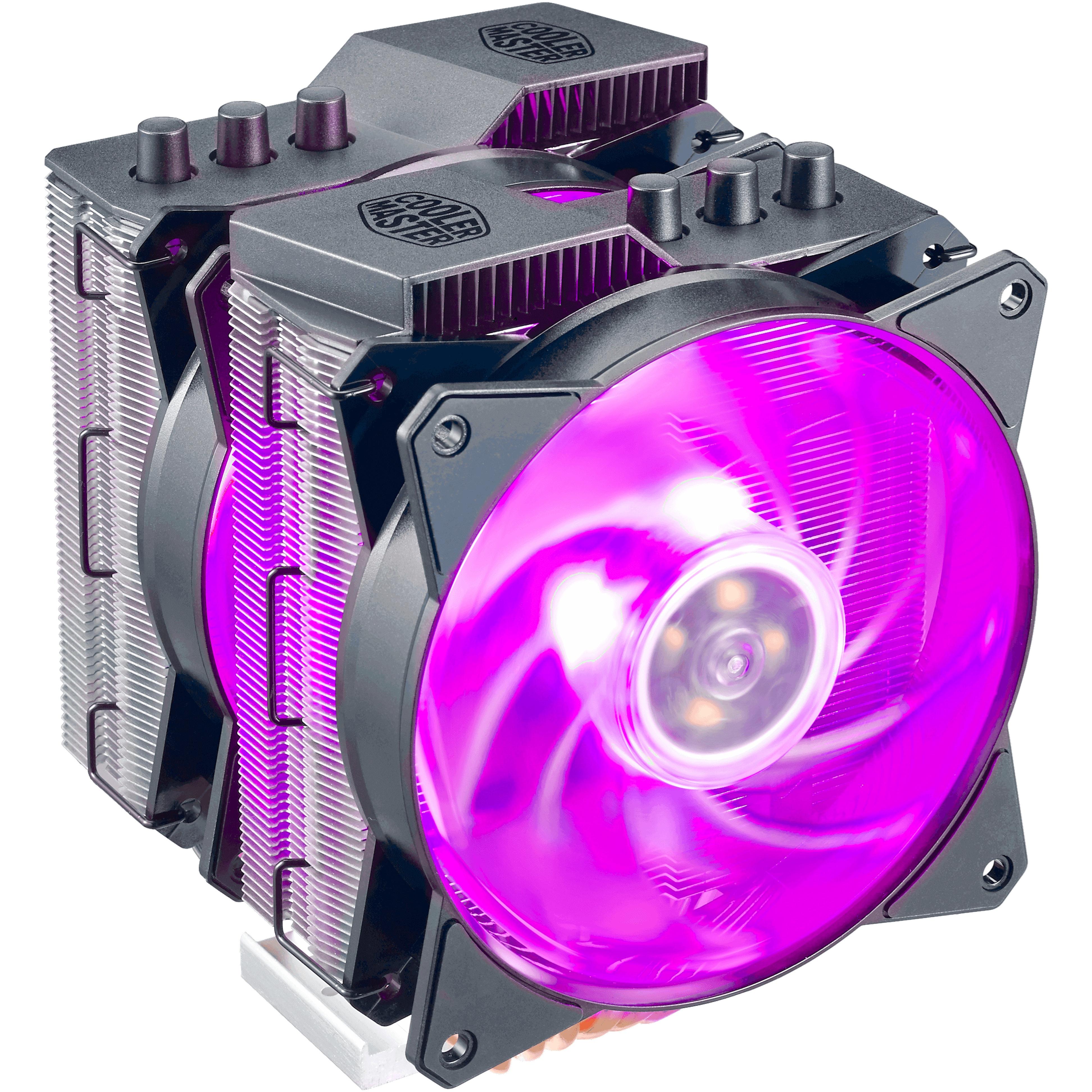 Ventola masterair ma620p, 120*25mm pwm fan, 600-1800rpm, 6x hp, wired rgb controller c10l