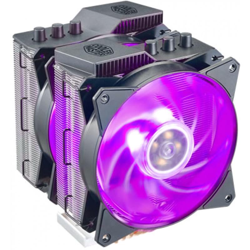 Ventola masterair ma621p esclusiva amd tr4, 2x masterfan mf120r rgb, 600-1800rpm, 6 heatpipes, wired rgb controller