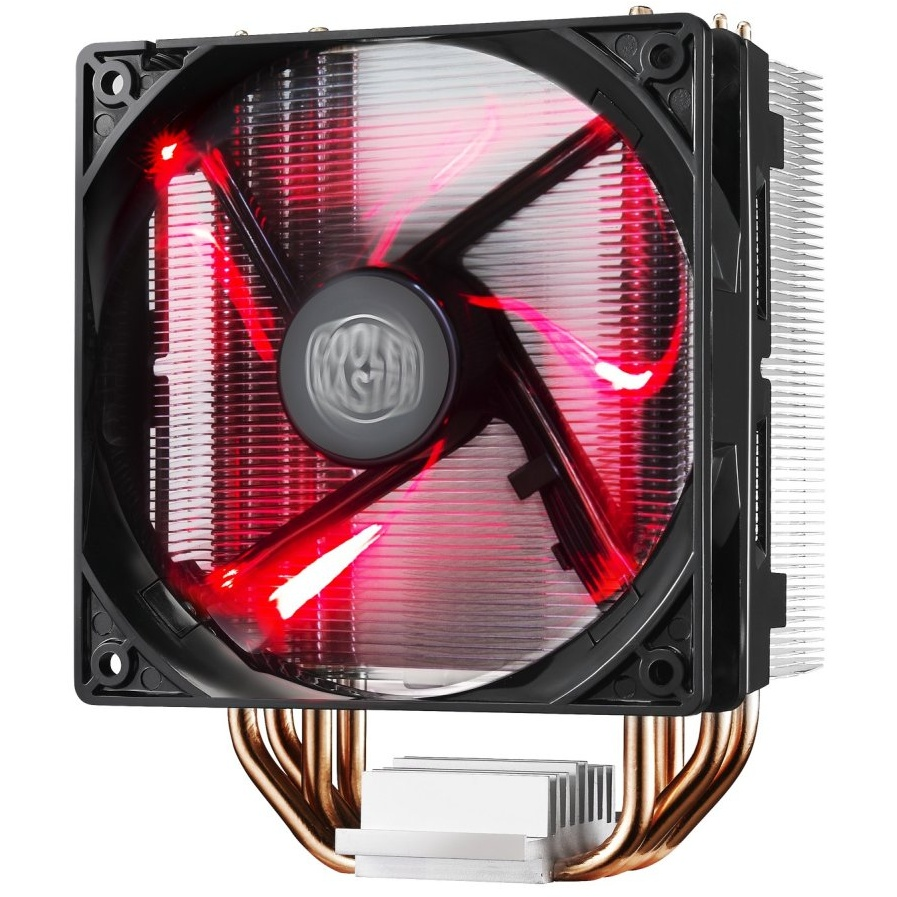 Ventola hyper 212 led, tower, 120mm 600-1600rpm pwm red led fan, 4 x 6mm cdc heatpipes, full socket support