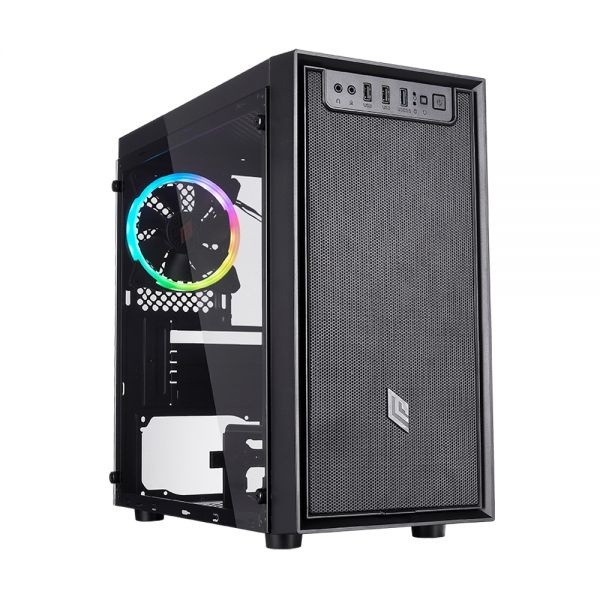 Case mini-tower no psu fobia l4 blk 1usb3 2usb2 vetro temperato rgb fan