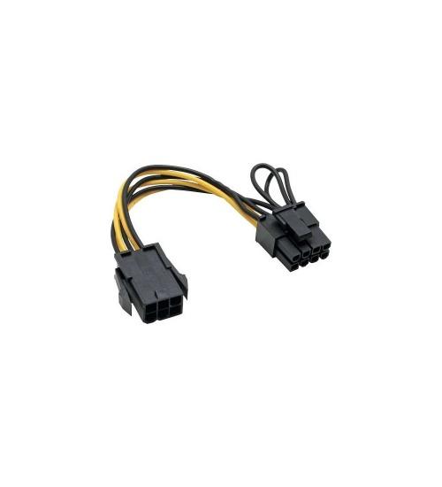 Inline cavo adattatore alimentazione interna da alimentatore atx 6pin (pcie) a scheda grafica 8pin (6+2) pci-express, nero