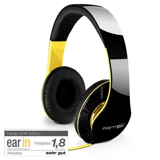 Fantec shp-250aj-wt cuffie audio black neon yellow