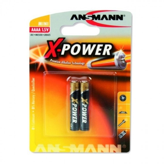Ansmann batteria alcalina formato aaaa da 1,5v per dispositivi high-tech.  2 pezzi