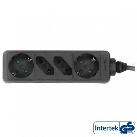 Inline multipresa elettrica, 2x presa schu.ko + 2x presa euro cavo 1,5m, nero