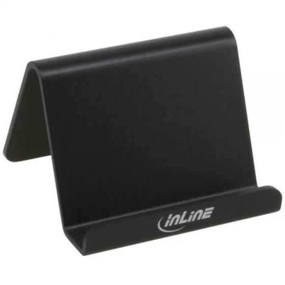 Inline supporto da tavolo in plastica morbida per smartphone e cellulari. nero