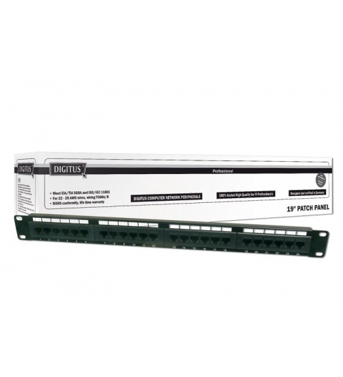 Patch panel 24 porte non schermato utp cat.5e 8 poli rack 19