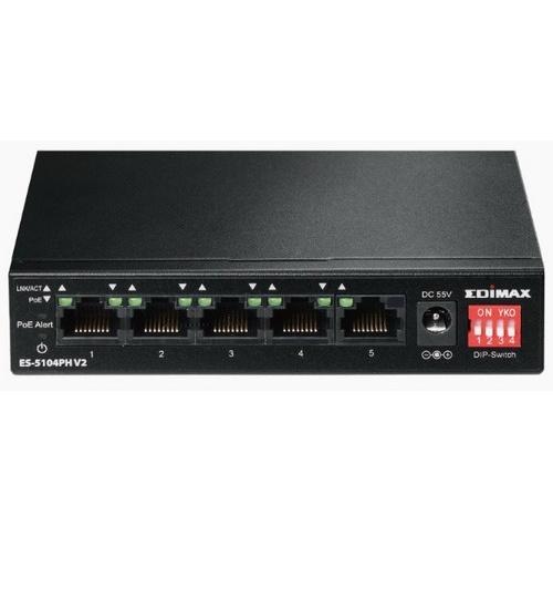 Edimax 5 port fast ethernet con 4 porte poe+ e switch dip