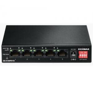 Edimax 5 port fast ethernet con 4 porte poe+ e switch dip