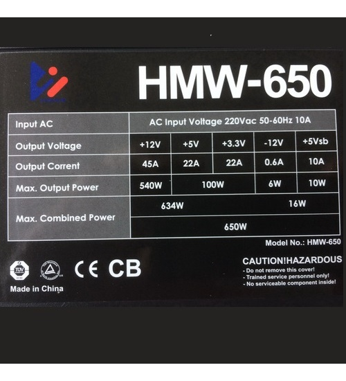 Alimentatore dominium hmw-650 650w + 6/8 vga pin