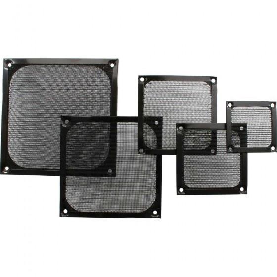 Inline griglia ventola con filtro in alluminio, 80x80mm, nera