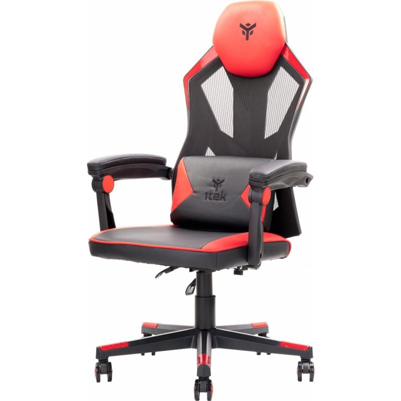 Itek gaming chair 4creators cf50 - pvc +mesh, schienale reclinabile, cuscino lombare, nero rosso