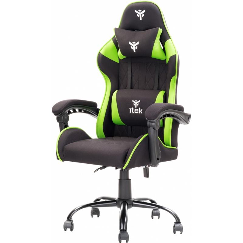 Itek gaming chair rhombus ff10 - tessuto, doppio cuscino, schienale reclinabile, nero verde