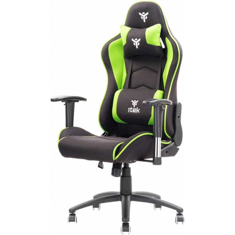 Itek gaming chair playcom fm20 - tessuto, doppio cuscino, braccioli 2d, nero verde