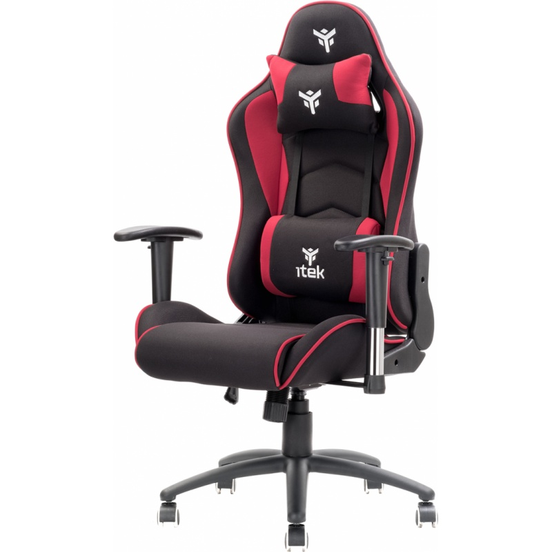 Itek gaming chair playcom fm20 - tessuto, doppio cuscino, braccioli 2d, nero rosso