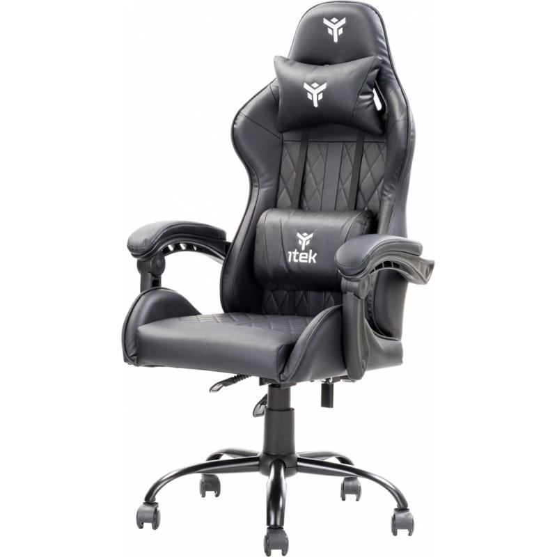 Itek gaming chair rhombus pf10 - pvc, doppio cuscino, schienale reclinabile, nero nero