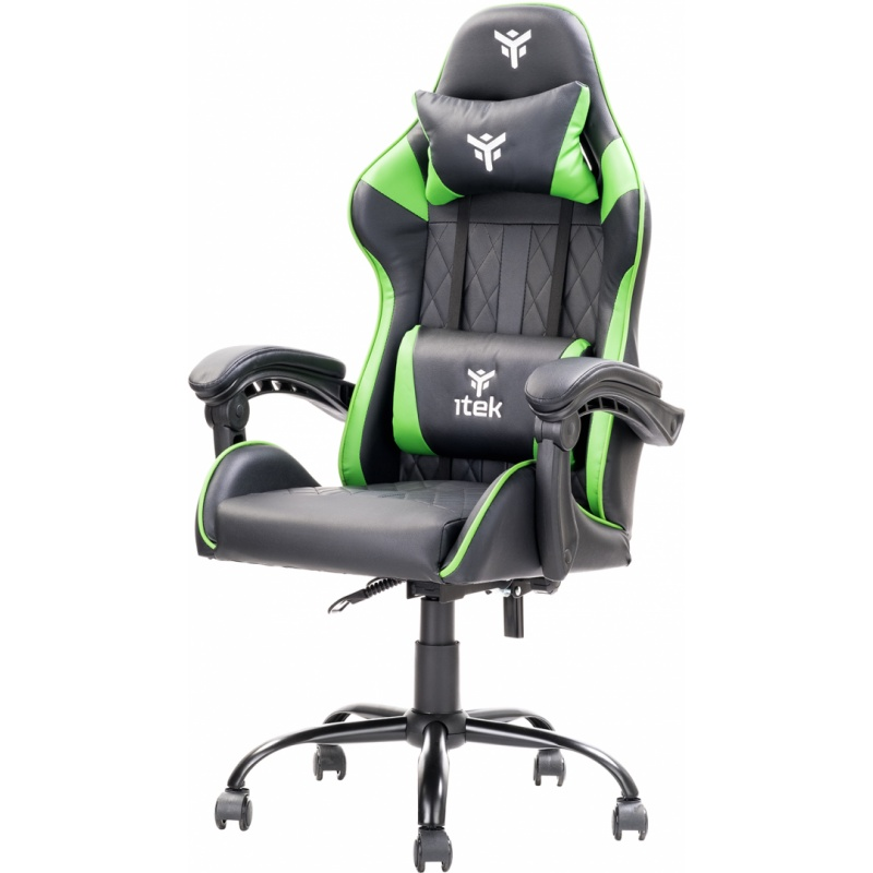 Itek gaming chair rhombus pf10 - pvc, doppio cuscino, schienale reclinabile, nero verde