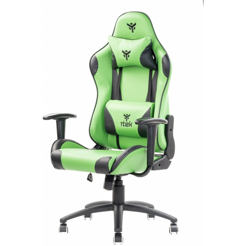 Itek gaming chair playcom pm20 - pvc, doppio cuscino, schienale reclinabile, verde nero