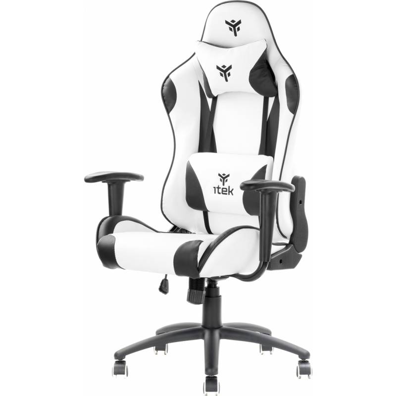 Itek gaming chair playcom pm20 - pvc, doppio cuscino, schienale reclinabile, bianco nero
