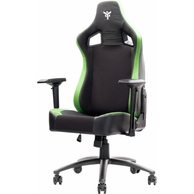 Itek gaming chair scout pm30 - pvce tessuto, braccioli 4d, nero verde