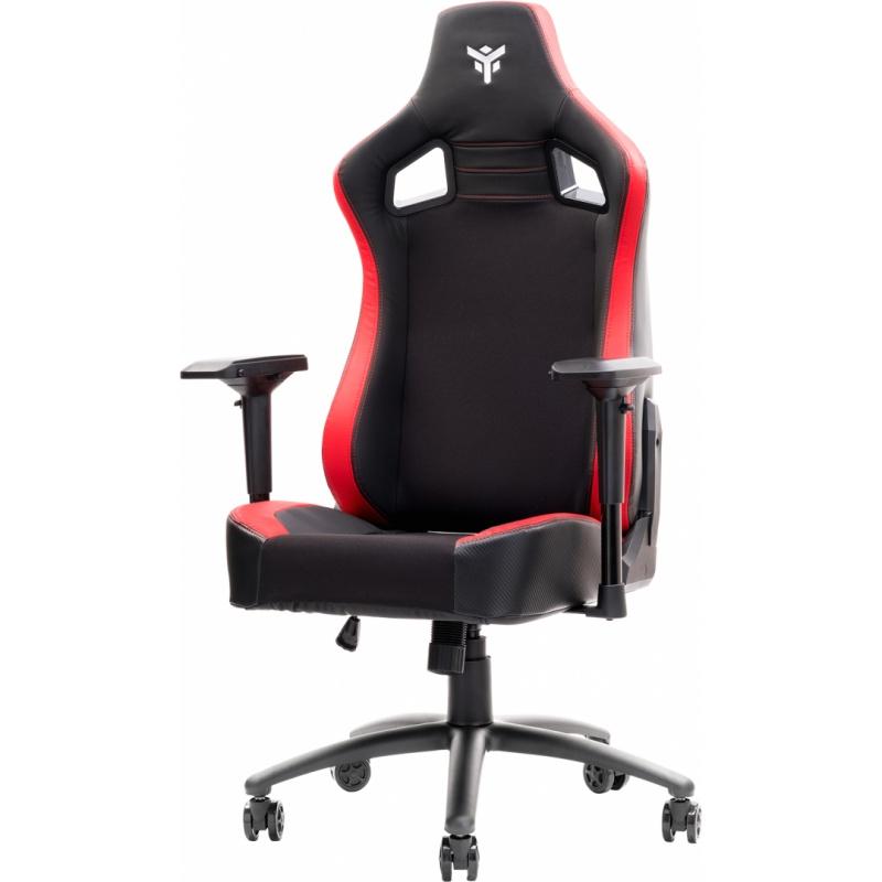 Itek gaming chair scout pm30 - pvce tessuto, braccioli 4d, nero rosso