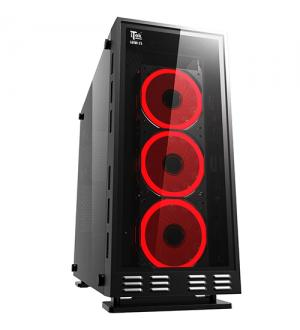 Case lunar 23r2 - gaming middle tower, usb3, 3x12cm rgb fan (con telecomando), front & side panel temp glass