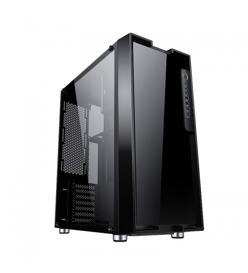 Case byzon - gaming full tower, 2xusb3, front & side panel temp glass