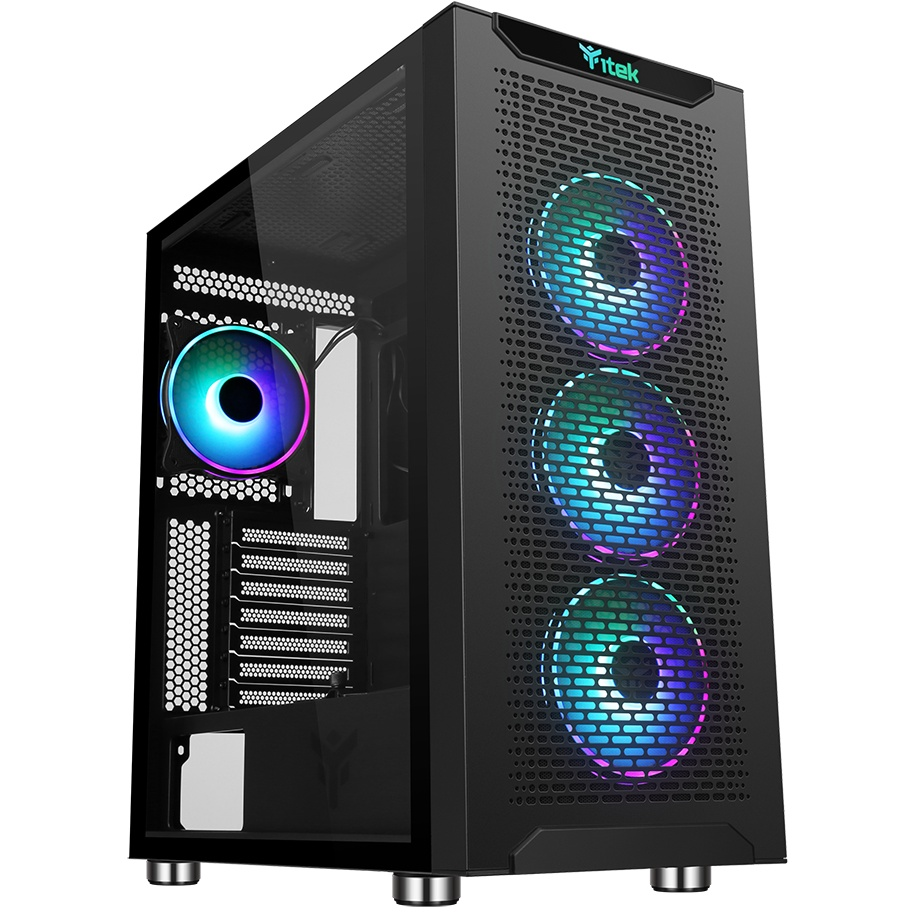 Case majes 40 - gaming full tower, 4x12cm argb fan, 2xusb3, side panel temp glass