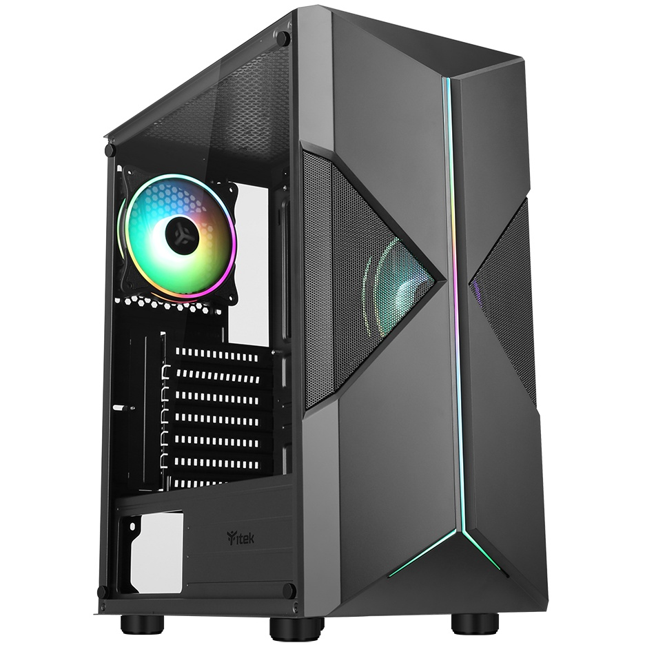Case spacirc xo - gaming middle tower, 2x12cm argb fan, usb3
